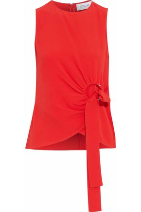 DEREK LAM 10 CROSBY Tie-front gathered silk-blend crepe top