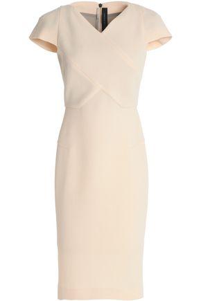 ROLAND MOURET Paneled wool-crepe dress