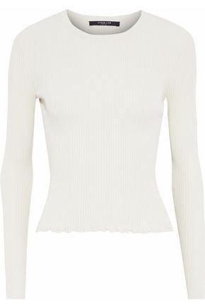 DEREK LAM Open knit-paneled ribbed-knit top