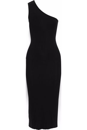 ENZA COSTA One-shoulder ribbed-knit midi dress