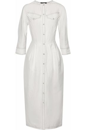 DEREK LAM Pleated linen-blend midi dress