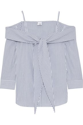 IRIS & INK Sandi cold-shoulder striped cotton-poplin top