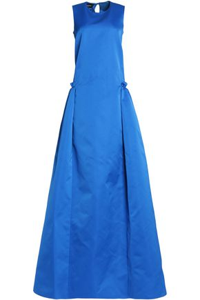 ROCHAS Pleated ruffled duchesse-satin gown