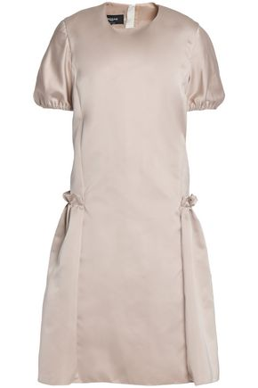 ROCHAS Pleated ruffled duchesse-satin mini dress
