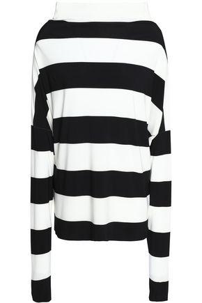 NORMA KAMALI Striped stretch-jersey top