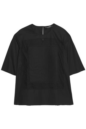 ROCHAS Lace appliquéd cotton-blend top