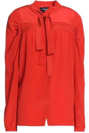 ROCHAS Pussy-bow pleated silk shirt
