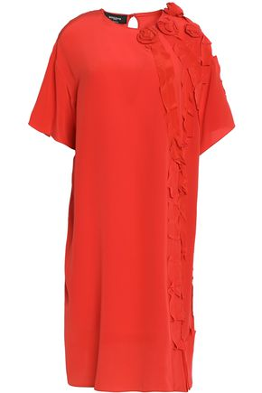 ROCHAS Ruffle-trimmed silk-crepe de chine dress