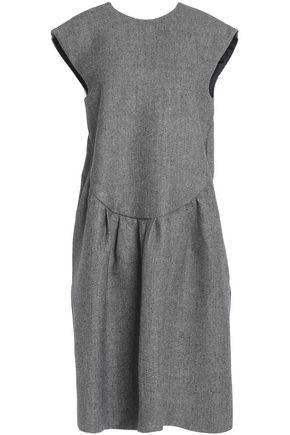 ROCHAS Gathered wool-blend houndstooth dress
