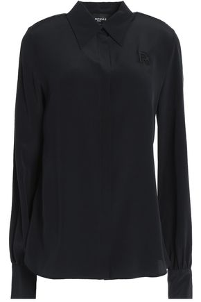 ROCHAS Appliquéd silk crepe de chine shirt