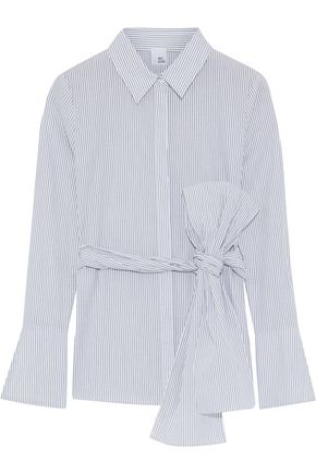 IRIS & INK Jaden tie-front striped cotton-poplin shirt
