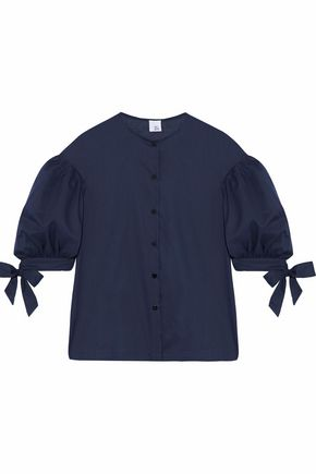 IRIS & INK Arren gathered cotton-poplin top