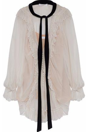 CHLOÉ Velvet pussy-bow ruffled silk-gauze blouse