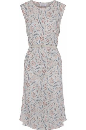 ZIMMERMANN Belted printed linen and cotton-blend midi dress