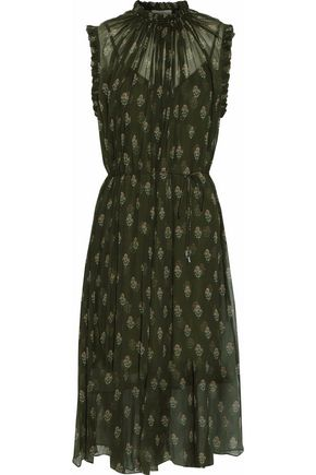 ZIMMERMANN Ruffle-trimmed gathered floral-print georgette dress