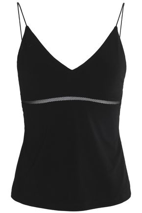 ALICE+OLIVIA Mesh-trimmed stretch-knit camisole