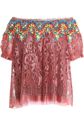 PETER PILOTTO Off-the-shoulder guipure lace top