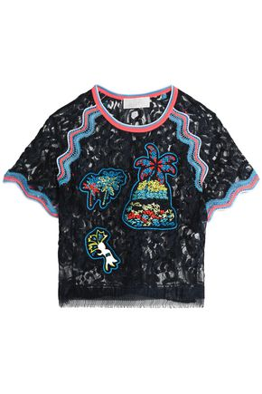 PETER PILOTTO Fringe-trimmed embroidered lace top