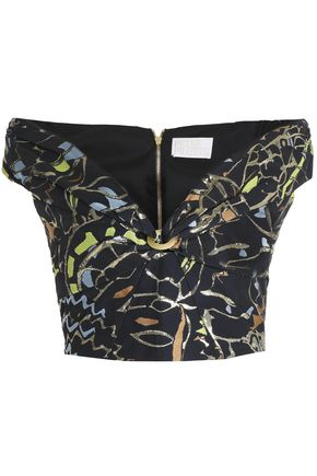 PETER PILOTTO Off-the-shoulder jacquard crop top