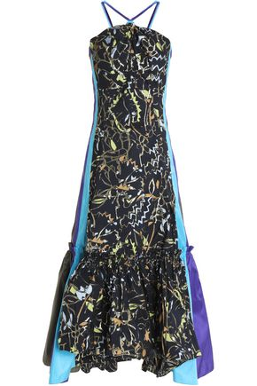 PETER PILOTTO Paneled jacquard and taffeta midi dress