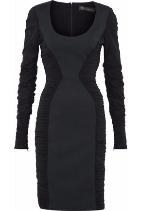 VERSACE Silk chiffon-paneled ruched jersey dress
