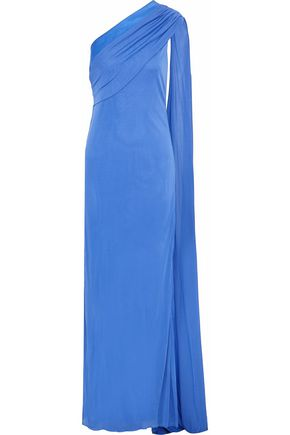 VERSACE One-shoulder satin-trimmed draped cady gown