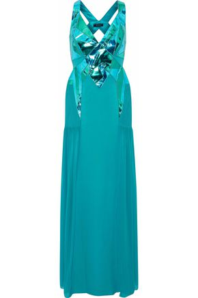 VERSACE Metallic leather and pintucked chiffon-paneled cutout silk-blend gown