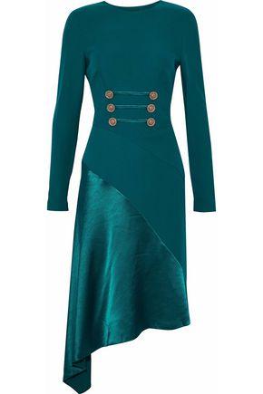 VERSACE Asymmetric satin-paneled cutout button-embellished silk dress
