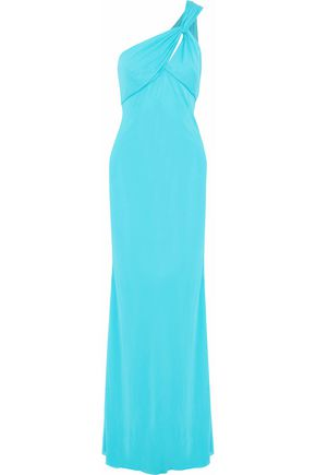 VERSACE One-shoulder cutout draped satin-jersey gown