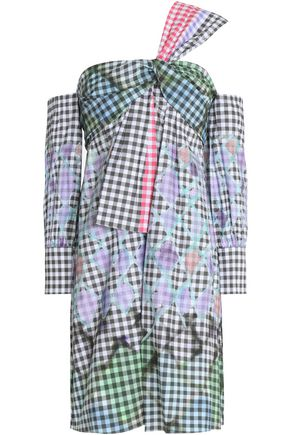 PETER PILOTTO One-shoulder printed gingham cotton mini dress