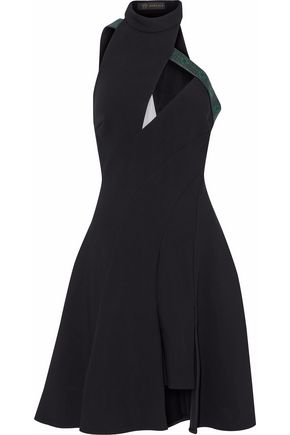 VERSACE Tulle-paneled faux leather-trimmed pleated neoprene dress