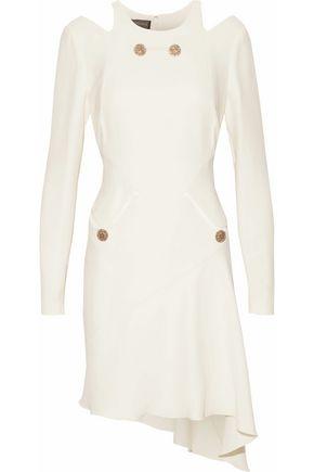 VERSACE Asymmetric cutout button-embellished silk dress