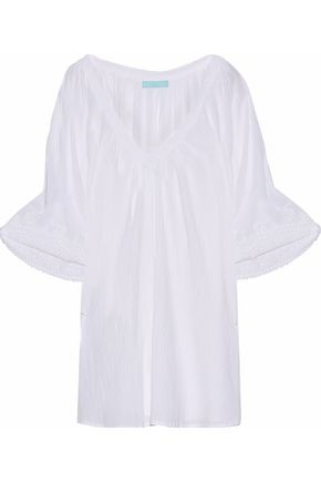 MELISSA ODABASH Cutout embroidered crinkled cotton-gauze coverup