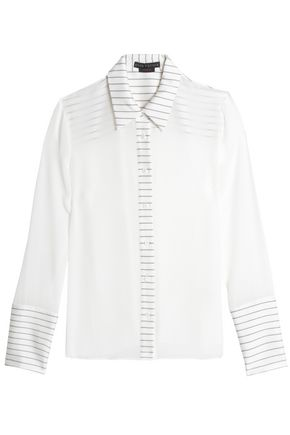 ALICE+OLIVIA Striped-trimmed silk crepe de chine shirt