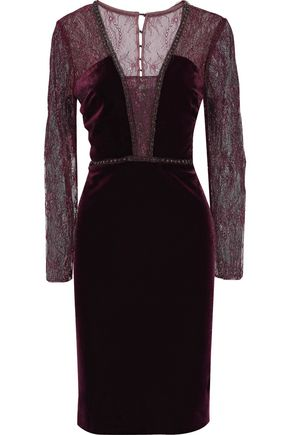 BADGLEY MISCHKA Embellished lace-paneled velvet dress