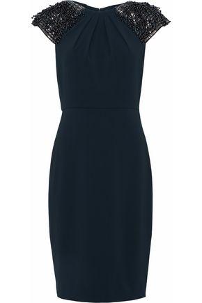 BADGLEY MISCHKA Ruched beaded cady dress