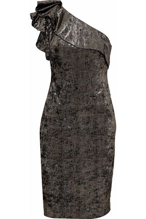 BADGLEY MISCHKA One-shoulder metallic crushed velvet dress