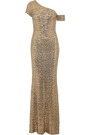 BADGLEY MISCHKA One-shoulder sequinned tulle gown