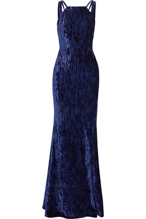 BADGLEY MISCHKA Cutout crushed-velvet gown