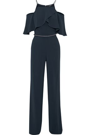 BADGLEY MISCHKA Cold-shoulder belted ruffled cady jumpsuit