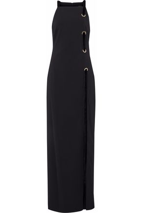 BADGLEY MISCHKA Eyelet-embellished velvet-trimmed cady maxi dress
