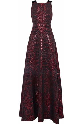 BADGLEY MISCHKA Metallic velvet-trimmed cutout jacquard faille gown