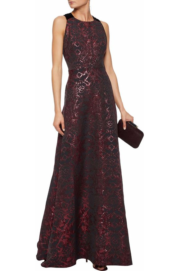 Metallic velvet-trimmed cutout jacquard faille gown | BADGLEY MISCHKA | Sale  up to 70% off | THE OUTNET