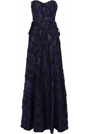 BADGLEY MISCHKA Strapless lace-up fil coupé cotton-blend gauze gown