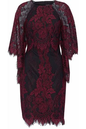 BADGLEY MISCHKA Draped corded lace dress