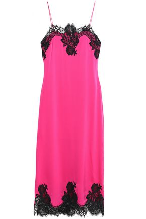ALICE + OLIVIA Luna lace-trimmed silk-blend midi dress