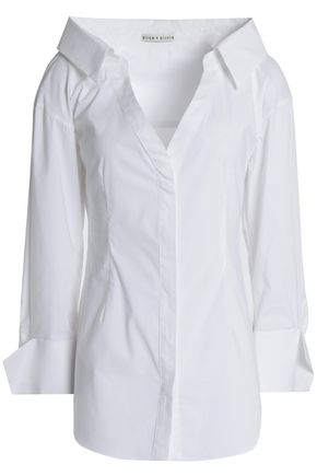 ALICE+OLIVIA Toro cotton-blend poplin shirt