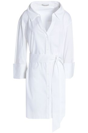 ALICE+OLIVIA Tate belted cotton-blend poplin mini shirtdress