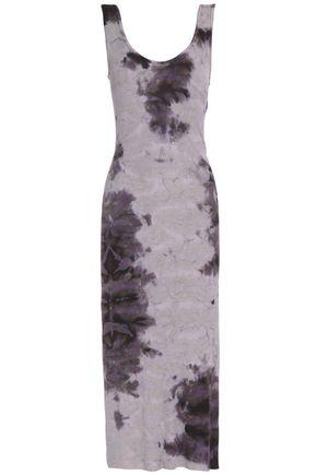 ENZA COSTA Printed ribbed-knit midi dress