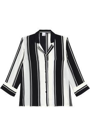 Iris & Ink Woman Astrid Striped Gauze Top White Size 4 IRIS & INK Buy Cheap Wholesale Price Sale Discount Cheapest Price For Sale Free Shipping Shop For Free Shipping The Cheapest nX4kN